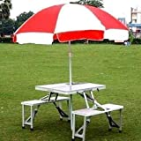 Deziine Aluminium Portable Folding Picnic Table and Chairs Set with Umbrella