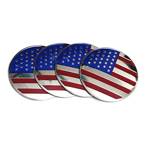 PT-Decors 56,5 mm Größe 3D gewölbter Aufkleber American Flag Felgendeckel Emblem Aluminium USA-Flagge Grafik-Aufkleber Badge für 60 mm Fahrzeug Motor Auto Auto Radnabenkappen -