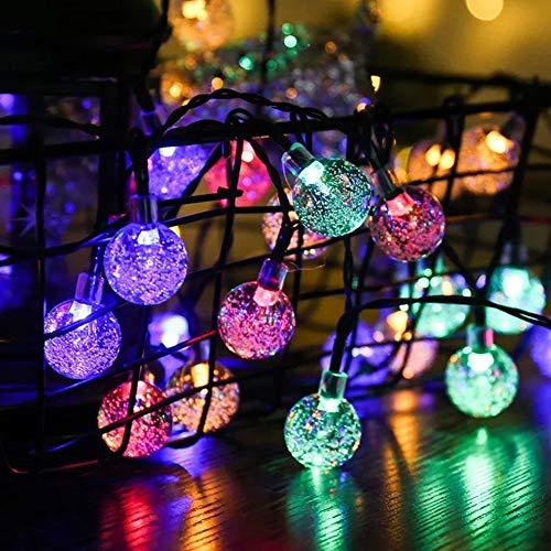OFFAY Lichterketten Outdoor, Wasserdicht Girlande außen 4.5m 30 LED luftblasenball glühbirne für Garten aussen deko solarzellen liefern Energie,Mehrfarbig -