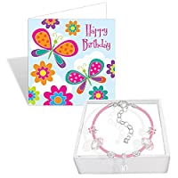 Girls Pink Leather Birthday Butterfly Charm Bracelet Card and Gift Box Set Age 4 to 10 (Age 10 / 10th Birthday)