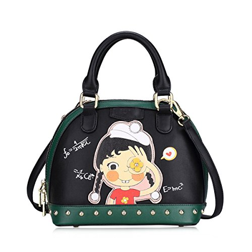 FZHLY Frauen Shell Schultertasche Pu Cartoon Print Handtasche Mode Messenger Bag Single-shoulder Bag Anime