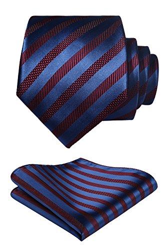 Hisdern Herren Krawatte Gestreifte Hochzeit Krawatte & Einstecktuch Set Burgund und Blau