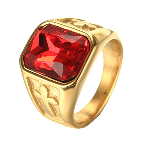PMTIER Herren Edelstahl Jahrgang Gold Kreuz Erklärung Ring mit Rot Stein Größe ()
