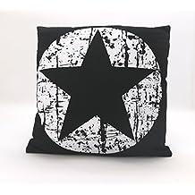 Dekokissen Maritim Vintage Sterne In Schwarz Weiß Mit Füllung U0026  Reißverschluß 45x45 Cm Hochwertig Aus 60
