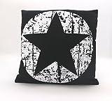 fashion and joy Dekokissen Maritim Vintage Sterne in schwarz weiß mit Füllung & Reißverschluß 45x45 cm hochwertig aus 60% Baumwolle 40% Leinen STERN Kissen Typ384