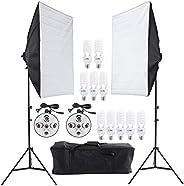 مجموعة الاضاءة المستمرة للتصوير مع مسند ضوء وسوفت بوكس 50×70 سم وعشرة مصابيح وحاملي ضوء