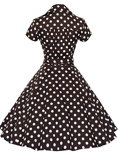 PU&PU Robe Aux femmes Grandes Tailles Grandes Tailles / Vintage / Soirée / Travail / Décontracté , Points Polka V Profond Mi-long Coton white-s
