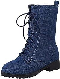 0afa27411 LuckyGirls Botas De Vaqueras Botines Denim Zapatos De Plataforma con  Cordones para Mujer Botas De Nieve