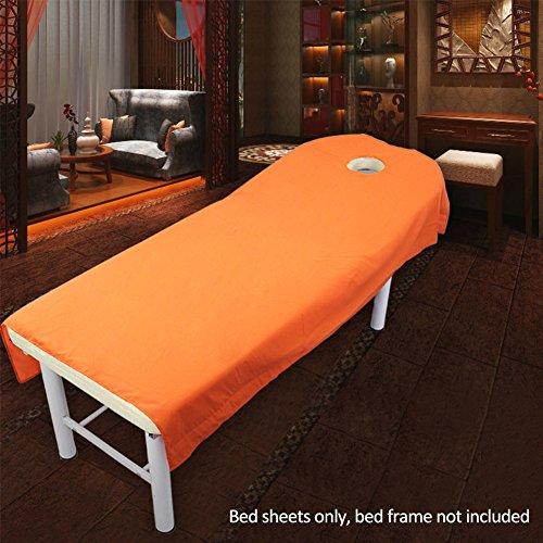 Preisvergleich Produktbild Uxely Laken für Behandlungsliege mit Öffnung für Gesichtsausschnitt,  weiches Laken für Beauty-Salon,  Massage,  Kosmetik-Salon,  Spa,  Massageliege,  Bett,  Tisch,  Bezug,  Laken mit Loch,  Orange 120cmx190cm