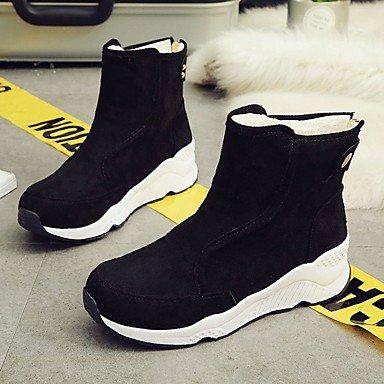 SANMULYH Scarpe Donna Microfibra Sintetico Pu Inverno Combattere Stivali Stivali Tacco Piatto Rotondo Mid-Calf Toe Stivali Per Casual Giallo Nero Nero