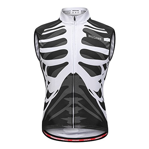 WOSAWE Radweste Radsport Reflektierende Sleeveless Radfahren Jacke für Männer Mantel Fahrrad Ultraleicht und Winddicht Weste (Skelett XXL)
