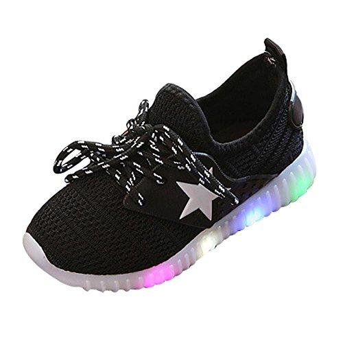 chen und Jungen Kleinkind Mode Stern leuchtendes Kind Bunte helle Schuhe Kinder Schuhe mit Licht Led Leuchtende Blinkende Turnschuhe für Kinder (35, Schwarz) ()