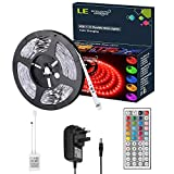 LE 5M RGB LED Strip Lights Kit, 150 SMD 5050 LED Tape, Colour Changing Mood Lighting, Dimmable, Power Supply and Remote Controller Included Bild