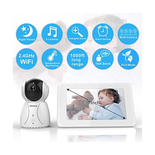 """BIGASUO Wireless Baby Monitor 7"""" HD LCD Digital Screen with Camera Night Vision & Two-Way Talk, Night Vision, Sound & Movement Alarm, 5 Baby Lullabies BIGASUO 👶【TWO-WAY TALKING & SUFFICIENT TRANSMISSION RANGE】 In a wide-open area,the monitor covers a transmission range of up to 1000 ft if connect its own wifi while 500 ft if connect the environment wifi. A highly sensitive built-in microphone and speakers on the camera detect the baby's voice,the parent's voice can comfort the baby. 👶【7'' LARGE COLOR LCD DISPLAY & AUTO NIGHT VISION】 BIGASUO baby vedio monitor offer you the clearest visual experience with the 7'' high-quality LCD HD screen.Clearly infrared night vision can view your baby and the room in low light even dark surroundings. 👶【AUTO MUTE & MULTI-TRANSMITTER CAPABILITY】 When the sound of the camera in the room is less than 52db for more than 8 seconds, the speaker of the display will be turned off, and a monitor will be activated when the noise is made. It can be paired with four cameras, and parents can select the cameras they want to monitor or scan the cameras one by one. 2"""