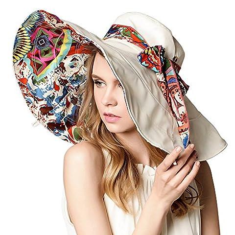 ZYHstore Damen Frauen breite große Brim Sonnenhut Reversible Floppy Sun Hüte Foldable Roll up Sommer Strand Anti-UV UPF 50+ Sonnenschutz Hut (Reversible Sonnenhut)