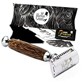 Bambus Holz Rasierer nass für Herren und Damen, Rasierhobel Set mit edlem Bambus Nassrasur Safety Razor, Rasierset von Sir Marlon Grant mit Nassrasierer und Rasierklingen