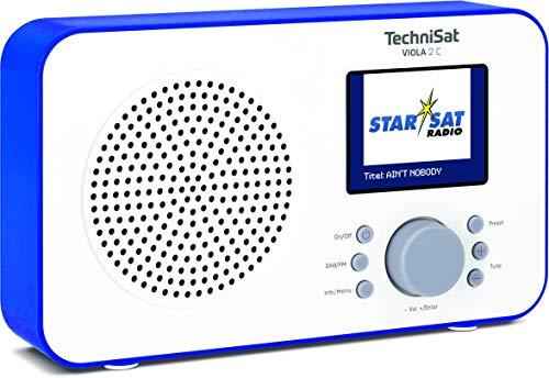 """TechniSat Viola 2 C tragbares DAB Radio (DAB+, UKW, Lautsprecher, Kopfhöreranschluss, 2,4"""" Farbdisplay, Tastensteuerung, klein, 1 Watt RMS) weiß/blau"""