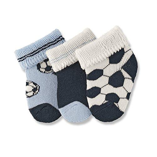 Sterntaler Erstlingssöckchen 3-er Pack, Alter: ab 0 Monate, Größe: Neugeborene (Herstellergröße 0), Fußball, Himmel-Blau (Fußball Plüsch)