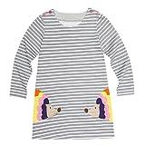 Overdose Kleinkind Baby Mädchen Kind Herbst Kleidung Pferd Print Stickerei Prinzessin Langarm T-shirts Party Kleid Mini Kleid (2T, D-Gray 2)