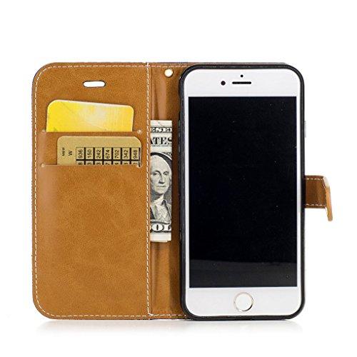 Apple iPhone 7 Hülle, SATURCASE Prämie Jeans Stil PU Lederhülle Ledertasche Magnetverschluss Flip Cover Brieftasche Case Handy Tasche Schutzhülle Handyhülle mit Standfunktion Kartenfächer und Handschl Blau
