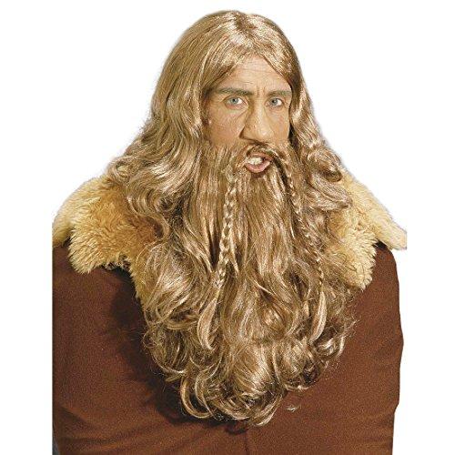 Braune Wikinger Perücke mit Bart Karnevalsperücke braun Nordmann Krieger Barbar Herrenperücke Kostüm Zubehör