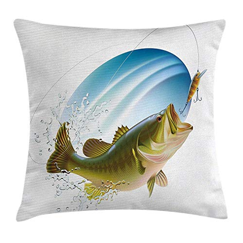 Fishing Decor Throw Pillow Cushion Cover, Largemouth Sea Bass Catching a Bite in Water Spray Motion Splash Wild Image, Decorative Square Accent Pillow Case, 18 X 18 Inches, Green Blue Cover Pink Splash