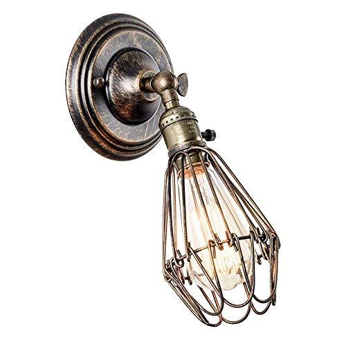 Wandlampe Retro Verstellbar Metall Wandleuchte Vintage für Landhaus Schlafzimmer Wohnzimmer Esstisch (Gemalt mit Öl gerieben Bronze)