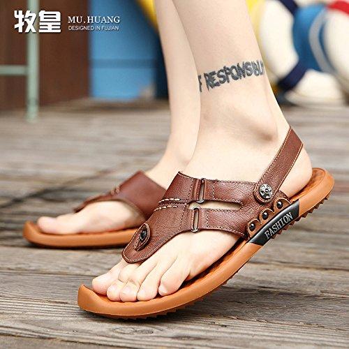 Xing Lin pour homme Sandales dété Sandales pour homme, cuir, Chaussures de cuir, décontracté et jeunes pour homme Tongs Marron foncé