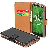 TopACE Moto G6 Plus Hülle, Wallet Hülle Moto G6 Plus Case mit Kartenfächer Bookstyle Handytasche Card Slot Leder Schutzhülle für Moto G6 Plus (Schwarz)