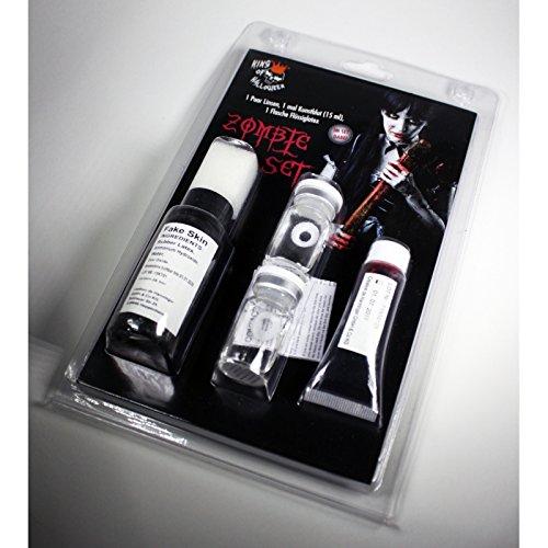 KOH-Zombieset+Kontaktlinsen, Latexmilch und Kunstblut Halloween(Undead White)