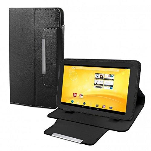 eFabrik Schutz Tasche für TrekStor Volks-Tablet 3G (VT10416-2) Tablet-PC Volks-Tablet 2 Schutztasche Zubehör Hülle mit Aufsteller in hochwertiger Leder-Optik schwarz