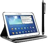 ebestStar - Housse Samsung Galaxy Tab 3 10.1 GT-P5210, 10 pouces P5200 P5220 - Housse Coque Etui PU cuir Support rotatif 360° + Stylet tactile, Couleur Noir [Dimensions PRECISES de votre appareil : 243.1 x 176.1 x 8 mm, écran 10.1'']