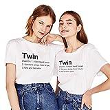 Sister Shirts Freundin Zwei Damen Mädcehn Freunde Tshirt Geburtstagsgeschenk 2 Stücke Baumwolle Sommer Tumblr Tops(Weiß+Weiß,Twin-XS+XS)