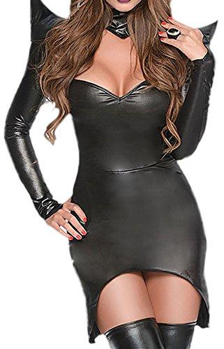 Halloweenia - Damen dunkle Zauberin Kostüm mit Hörner- Kapuze, S, - Dunkle Zauberin Damen Kostüm