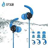 Auricolari Impermeabili IPX8, AGPTEK Cuffie per Nuoto Corsa Palestra Doccia Fitness con Filo 60cm (SE14) - Blu