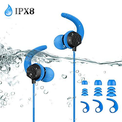 IPX8 Wasserdichte Kopfhörer, verdrahtete 3,5 mm In-Ear Ohrhörer, sichere Passform zum Schwimmen, Surfen, Laufen, Fitness-Training, Stereo-Bass, Verlängerungskabel und Ersatz Eartips, von AGPTEK, Blau
