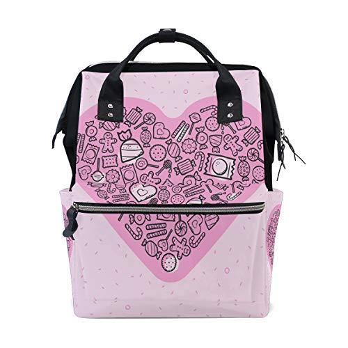 Hübsches Liebes Rosa süßes Herz des Valentines große Kapazität Windel bauscht sich Mummy Rucksack multi Funktionen Windel Pflegetasche Tote Handtasche für Kinderbaby Sorgfalt Reise tägliche Frauen (Herzen Benutzerdefinierte Süßigkeiten)