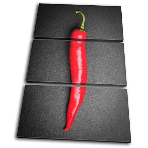 Bold Bloc Design - Food Kitchen Hot Chili Peppers - 150x100cm Leinwand Kunstdruck Box gerahmte Bild Wand hängen - handgefertigt In Großbritannien - gerahmt und bereit zum Aufhängen - Canvas Art Print (Hot Chili Peppers Dekoration)