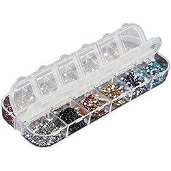 Bomien - 3000 piedras preciosas falsas para decoración de uñas postizas, naturales, de gel, resistentes a los rayos UV, para colocar sobre el pintauñas, uso profesional, 2 mm