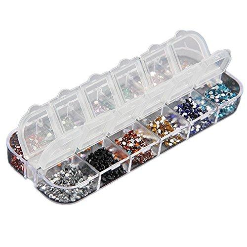 Bomien - Lote de 3000 aplicaciones de estrás para decoración de uñas postizas, naturales o de gel, resistentes a los rayos UV, para colocar sobre el esmalte, uso profesional, 2 mm, 1, Style A, 1