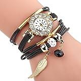 HUIHUI Uhren Damen, Geflochten Armbanduhren Günstige Uhren Wasserdicht Casual Analoge Quarz Uhr Luxus Armband Coole Uhren Lederarmband Mädchen Frau Uhr (Schwarz)