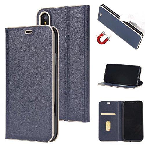 Luxe Slim Magnetic Closure Pattern Solid Color PU Cuir Flip Folio Housse Case avec slot pour carte pour iPhone X ( Color : Gray ) Blue