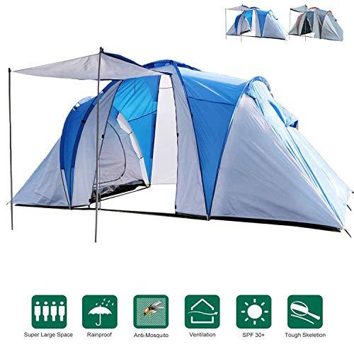 MECOREX Familienzelt Tunnelzelt für 2-4 Personen mit Vordach Kuppelzelt Wurfzelte Weiß/Blau Großer Stauraum Festival Campingurlaub(Gib einen Schlafsack)