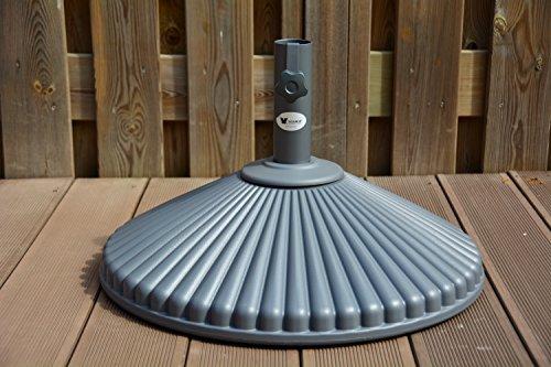 Sonnenschirm Ständer Garten Basis Stand | Hochwürdiger Kunststoff | Eco | Ø60 cm | Runde | SORARA | Für Ø38 / Ø 48 mm pol | 23 KG | Mit Wasser füllen