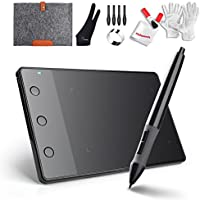 """Huion H420 USB Art Design Graphics Drawing Tablet Board Digital Pen with 10"""" Wool Liner Bag and Two Fingers Anti-fouling Glove"""