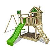 FATMOOSE Stelzenhaus RockyRanch Roll XXL Spielturm mit Doppelschaukel, Rutsche + Sandkasten -