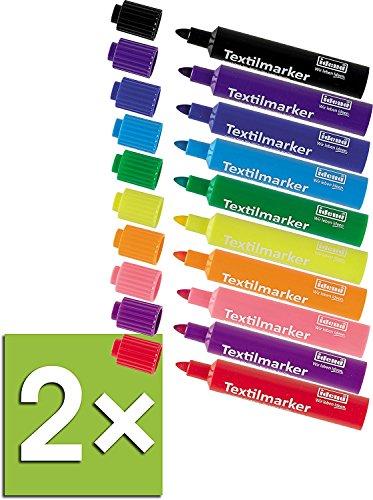 Idena 60035 Textilmarker für helle Stoffe, 10 Farben (2 Packungen)