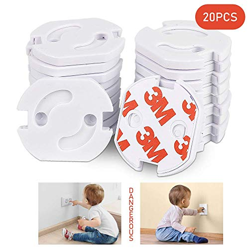 Redmoo 20 Stücke Steckdosenschutz kindersicherung steckdose für Steckdose kindersicherung mit Drehmechanik-Steckdosenschutz Steckdosensicherung Baby Kleinkinder, weiß (01)