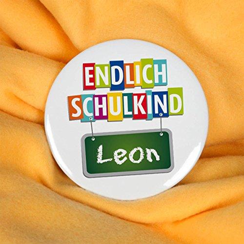 Striefchen® Button zur Schuleinführung - Endlich Schulkind - mit Namen 56mm zum Befestigen an Schultüte - 2