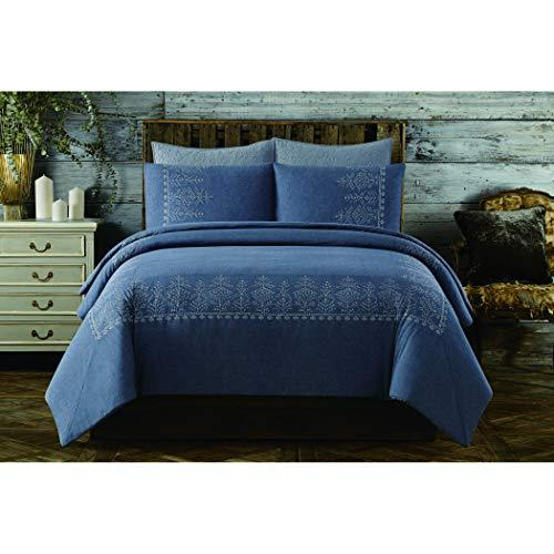Cottage Classics Bordüre aus Baumwolle Bestickt Bettbezug-Set Full/Queen blau - Cottage White Queen